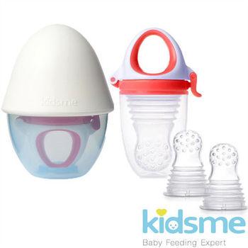 英國kidsme咬咬樂輔食器-風琴式-帶矽膠研磨器(紅)+過濾網袋替換裝2入