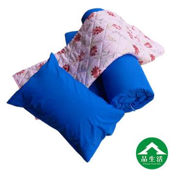 【品生活】素色捲床組(床墊+枕頭+涼被)-3x6尺單人-深藍