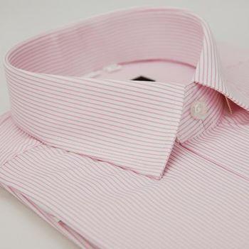 【金安德森】粉色條紋窄版短袖襯衫