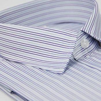 【金安德森】紫色寬紋窄版短袖襯衫