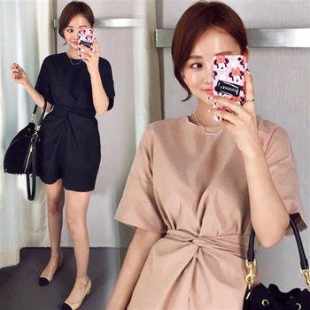 Pink東大門-正韓 素色綁帶收腰造型包臀洋裝(二色)-ZX505112