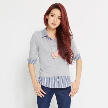 TOP GIRL 假兩件式拼接直條紋襯衫 (共二色)