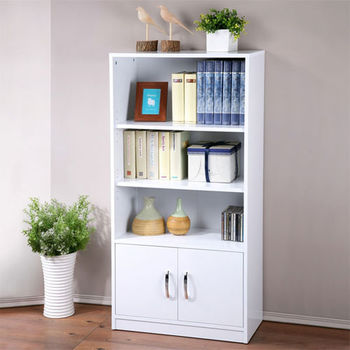 Homelike 個性時尚雙門三格書櫃(純白色)