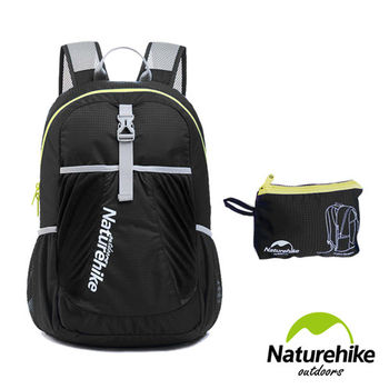 Naturehike 22L超輕量折疊收納後背包 登山包 攻頂包(黑色)