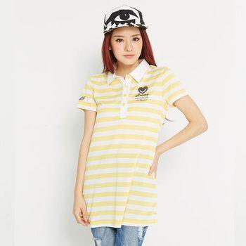 TOP GIRL 彩條長版POLO衫 (共二色)