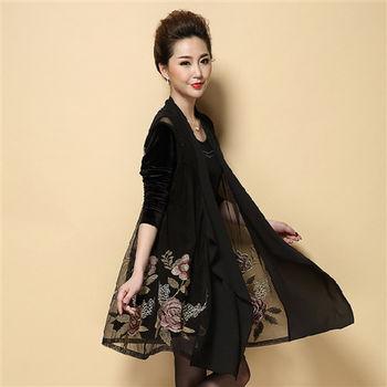 【糖潮】網紗刺繡復古印花開衫長袖連衣裙兩件套