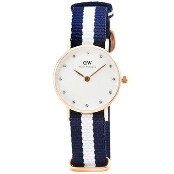 DW Daniel Wellington 瑞典簡約時尚腕錶-藍白帆布帶金框26mm / 0908DW