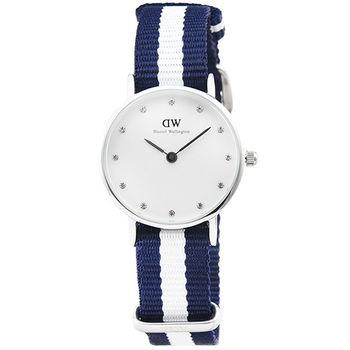 DW Daniel Wellington 瑞典簡約時尚腕錶-藍白帆布帶銀框26mm / 0928DW