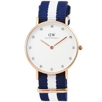 DW Daniel Wellington 瑞典簡約時尚腕錶-藍白帆布帶金框34mm / 0953DW