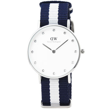 DW Daniel Wellington 瑞典簡約時尚腕錶-藍白帆布帶銀框34mm / 0963DW