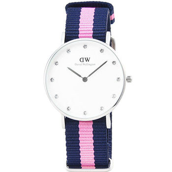 DW Daniel Wellington 瑞典簡約時尚腕錶-藍粉紅帆布帶銀框34mm / 0962DW