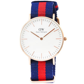 DW Daniel Wellington 瑞典簡約時尚腕錶-藍紅帆布帶金框36mm / 0501DW