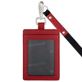 MONDAINE 瑞士國鐵牛皮直式識別證件套-紅