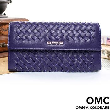 OMC - 韓國專櫃立體編織真皮多層手拿式長夾