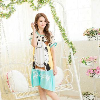 Wonderland ST301微笑乳牛居家洋裝(綠)