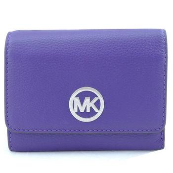 MICHAEL KORSS 荔枝紋皮革圓MK飾牌三折中夾(紫)