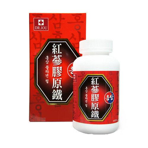 即期良品 DR.JOU 紅蔘膠原鐵錠(一件組 1000mg/80錠/盒 效期:2017.7.1)