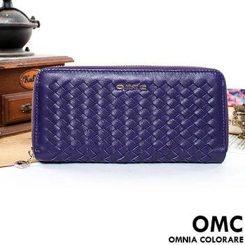 OMC - 韓國專櫃立體編織真皮舌扣零錢包長夾