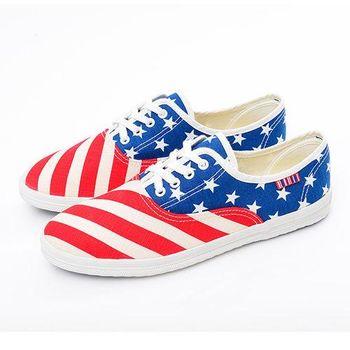 【美國 AIRWALK】美國旗子青春帆布鞋 - 女-紅藍白