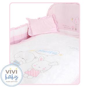 【vivibaby】艾瑪兔大床八件式嬰兒寢具組(粉)