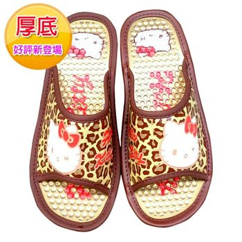【Hello Kitty】室內按摩厚底拖鞋-豹紋咖啡