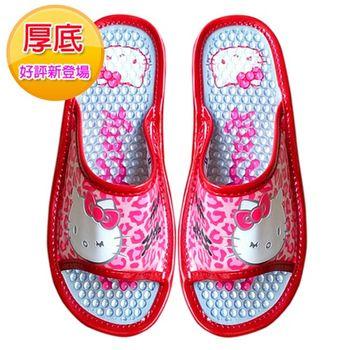 【Hello Kitty】室內按摩厚底拖鞋-豹紋粉紅