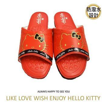 【Hello Kitty】超靜音室內按摩拖鞋-紅