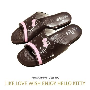 【Hello Kitty】超靜音室內按摩拖鞋-咖啡