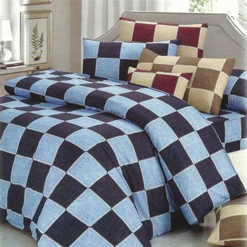 艾莉絲-貝倫 格子物語(6.0呎x6.2呎)四件式雙人加大(高級混紡棉)薄被套床包組(雙藍色)