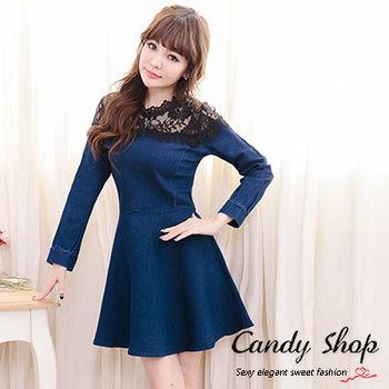 Candy小舖 率性牛仔拼接甜美緹花長袖短洋裝 - 藍