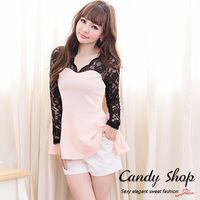 Candy小舖 甜美V領蕾絲拼接美胸下擺傘狀上衣 ^#45 粉色