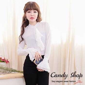 Candy小舖 春裝透膚雪紡紗襯衫-白