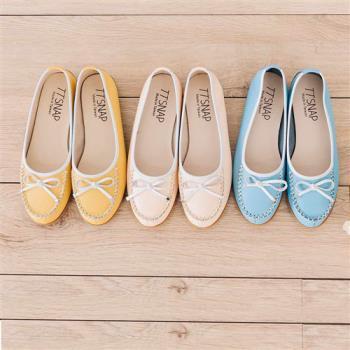 TTSNAP豆豆鞋-MIT 全真皮超軟Q蝴蝶結平底鞋-淺水藍