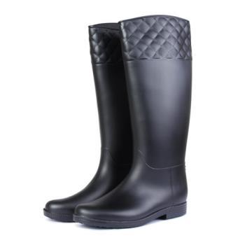 TTSNAP香榭女孩-小香風菱格紋長筒雨靴-黑色