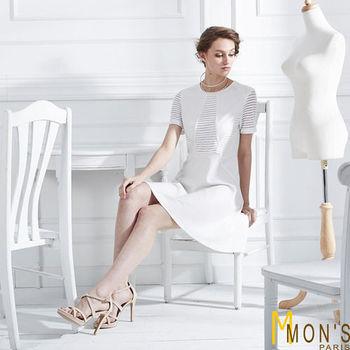 MONS立裁條紋透視造型洋裝
