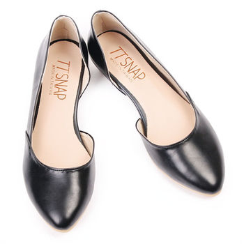 TTSNAP內增高-MIT簡約小尖頭側鏤空真皮平底鞋-百搭黑