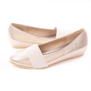 TTSNAP內增高-MIT素面織帶小尖頭真皮平底鞋-透膚金