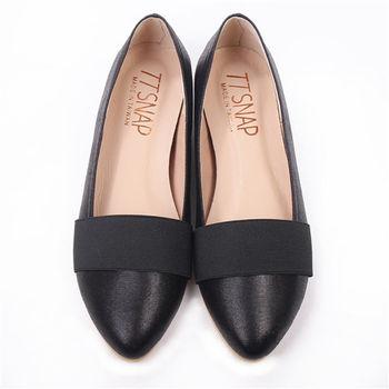 TTSNAP內增高-MIT素面織帶小尖頭真皮平底鞋-優雅黑