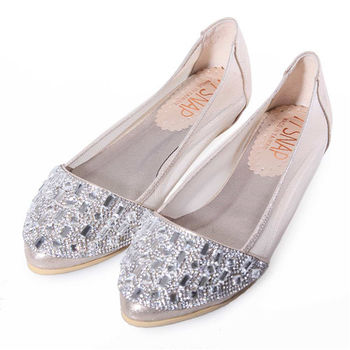 TTSNAP內增高-MIT尖頭水鑽透膚網紗平底鞋-奢華金