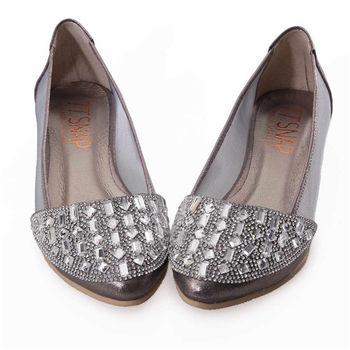 TTSNAP內增高-MIT尖頭水鑽透膚網紗平底鞋-質感錫