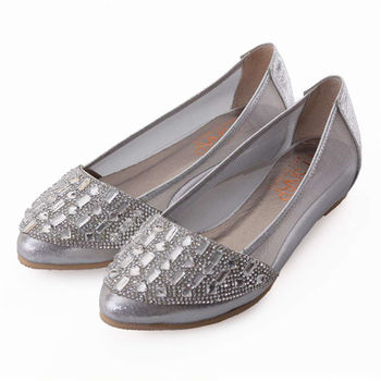 TTSNAP內增高-MIT尖頭水鑽透膚網紗平底鞋-時尚銀