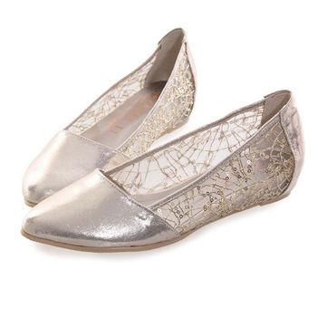 TTSNAP內增高-MIT小尖頭蕾絲亮片網紗平底鞋-透膚金