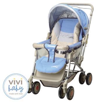 【Vivibaby】全罩大型雙向手推車(藍/紅)