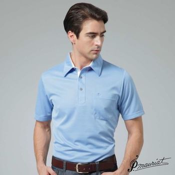 PAUL MAURIAT波爾.瑪亞吸濕排汗短袖POLO衫-藍底白條