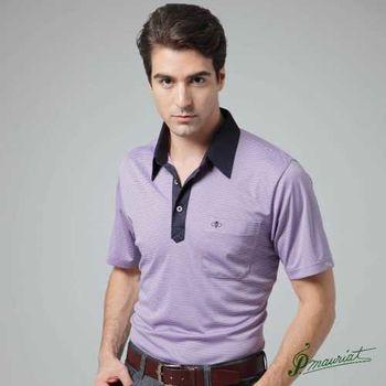 PAUL MAURIAT波爾.瑪亞吸濕排汗短袖POLO衫(L)-紫底黑條