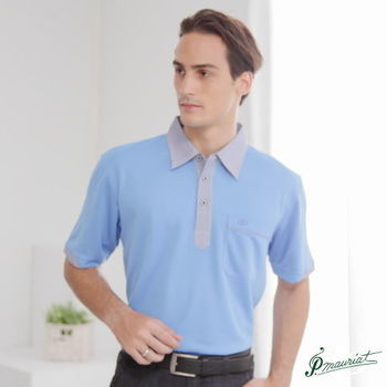 PAUL MAURIAT波爾.瑪亞吸濕排汗短袖POLO衫-藍色