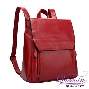 DF Queenin日韓 - 英倫情人熱賣款簡約皮質感雙肩後背包