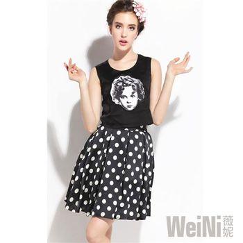 【WeiNI薇妮】圓領無袖雪紡上衣+大圓波點中裙(黑色)