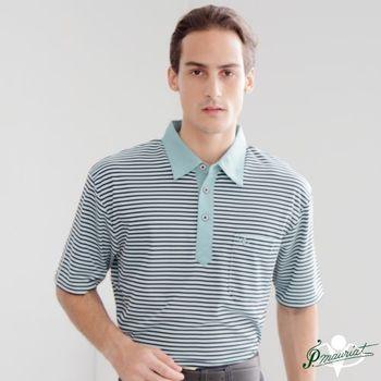 PAUL MAURIAT波爾.瑪亞吸濕排汗短袖POLO衫-綠橫紋