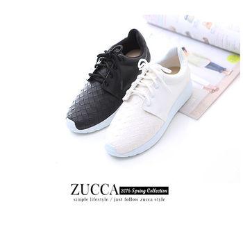 ZUCCA【Z5907】菱格皮革穿繩休閒鞋-黑色/白色